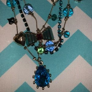Betsey Johnson blue heart necklace